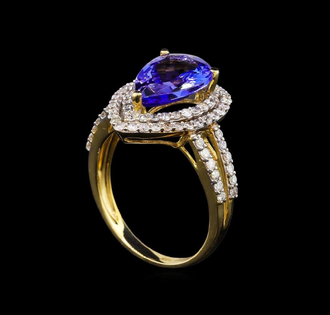 14KT Yellow Gold 3.19 ctw Tanzanite and Diamond Ring - 4