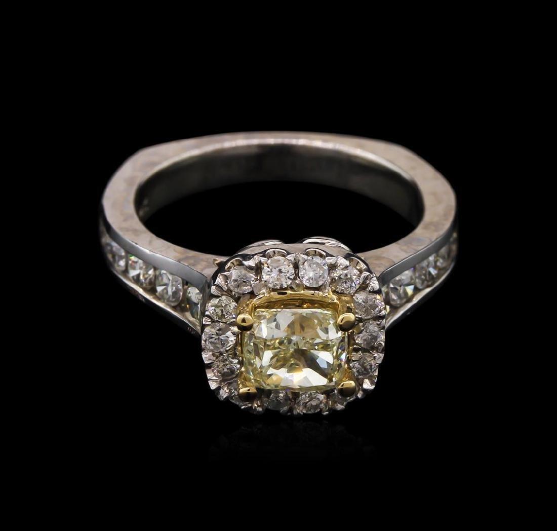 2.07 ctw Light Yellow Diamond Ring - 14KT White Gold - 2