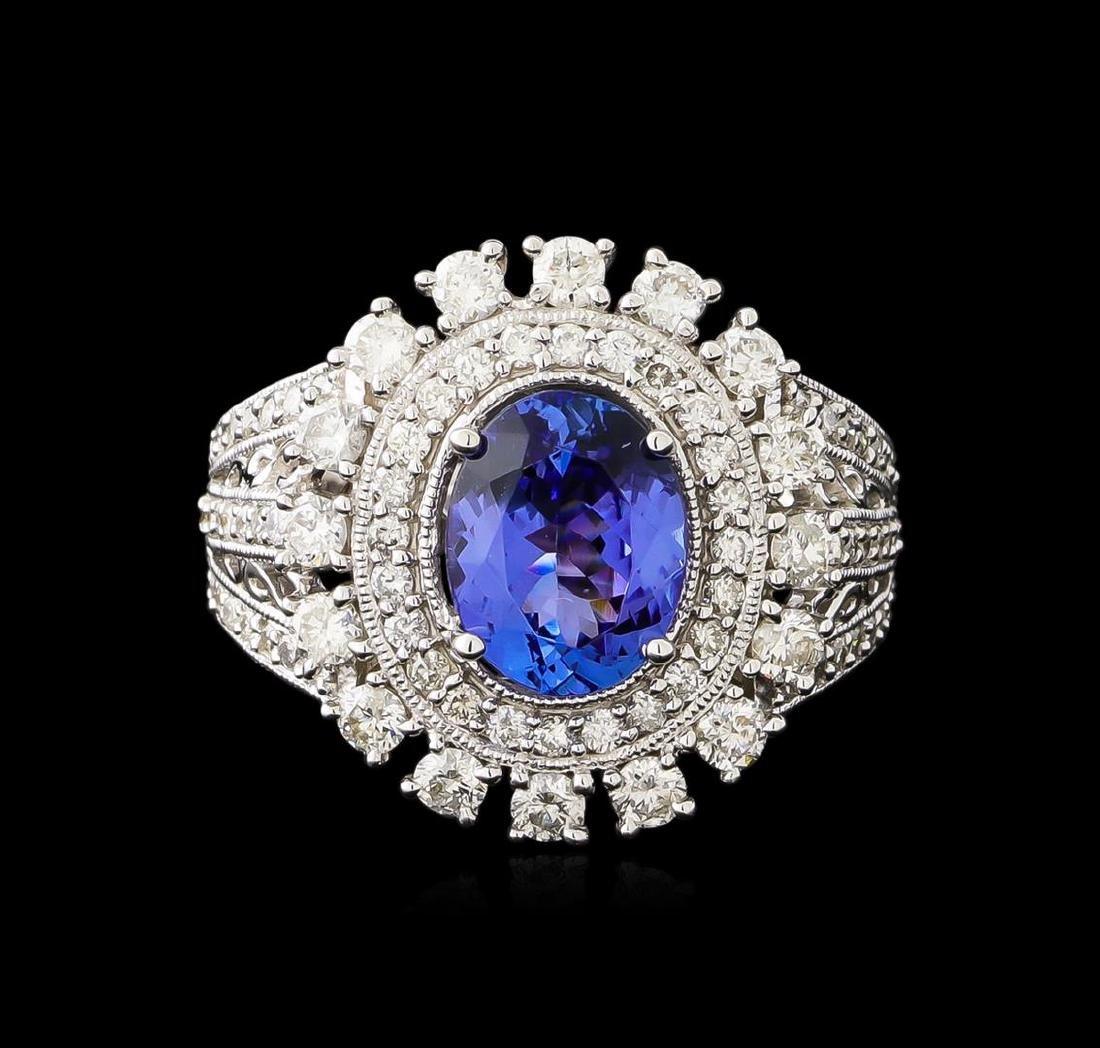 2.23 ctw Tanzanite and Diamond Ring - 14KT White Gold - 2