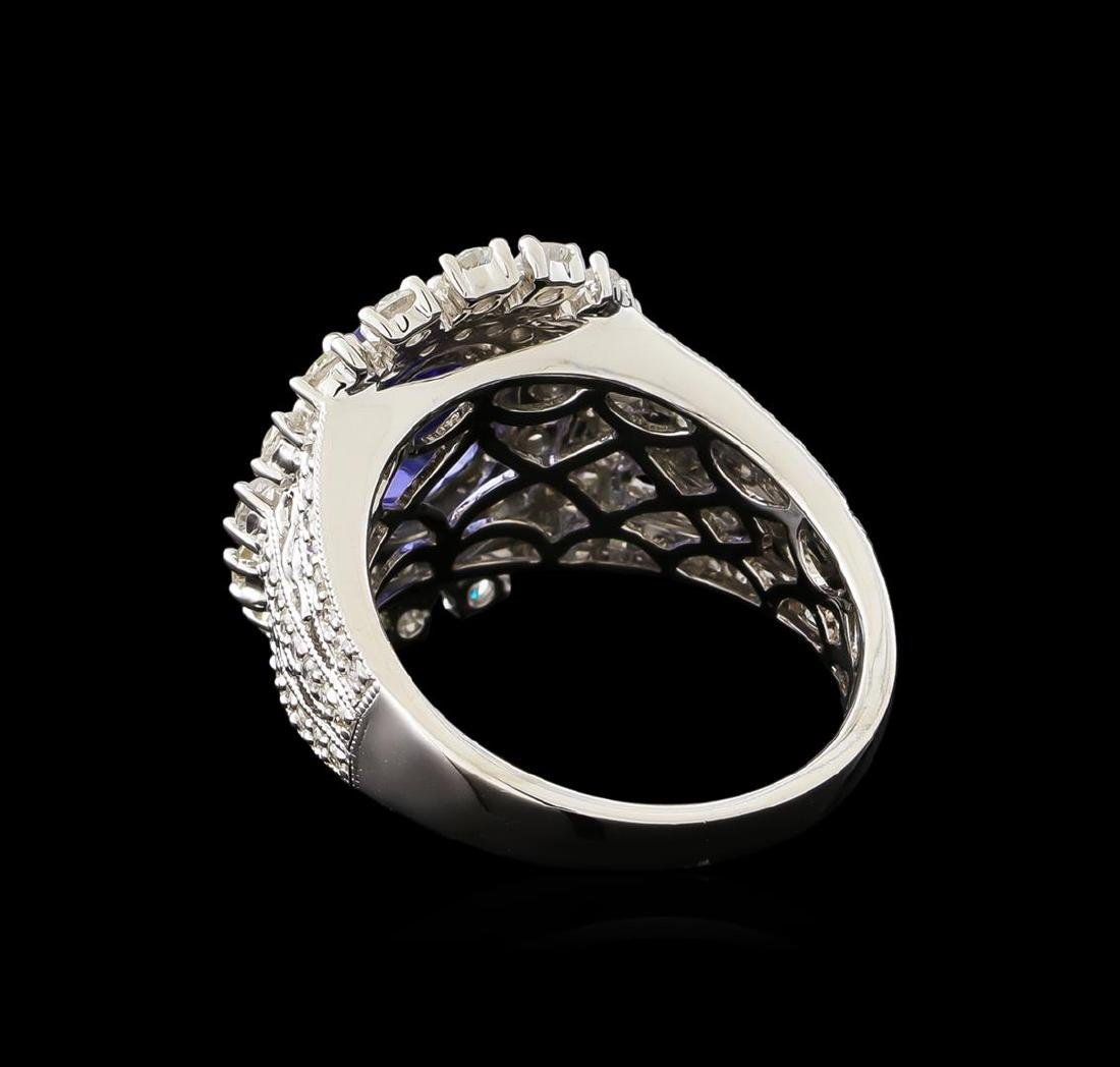 2.23 ctw Tanzanite and Diamond Ring - 14KT White Gold - 3