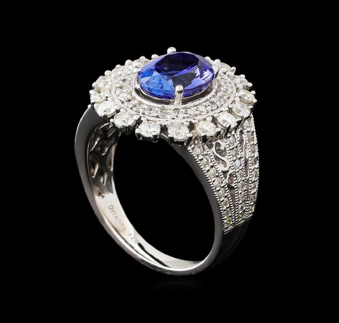 2.23 ctw Tanzanite and Diamond Ring - 14KT White Gold - 4