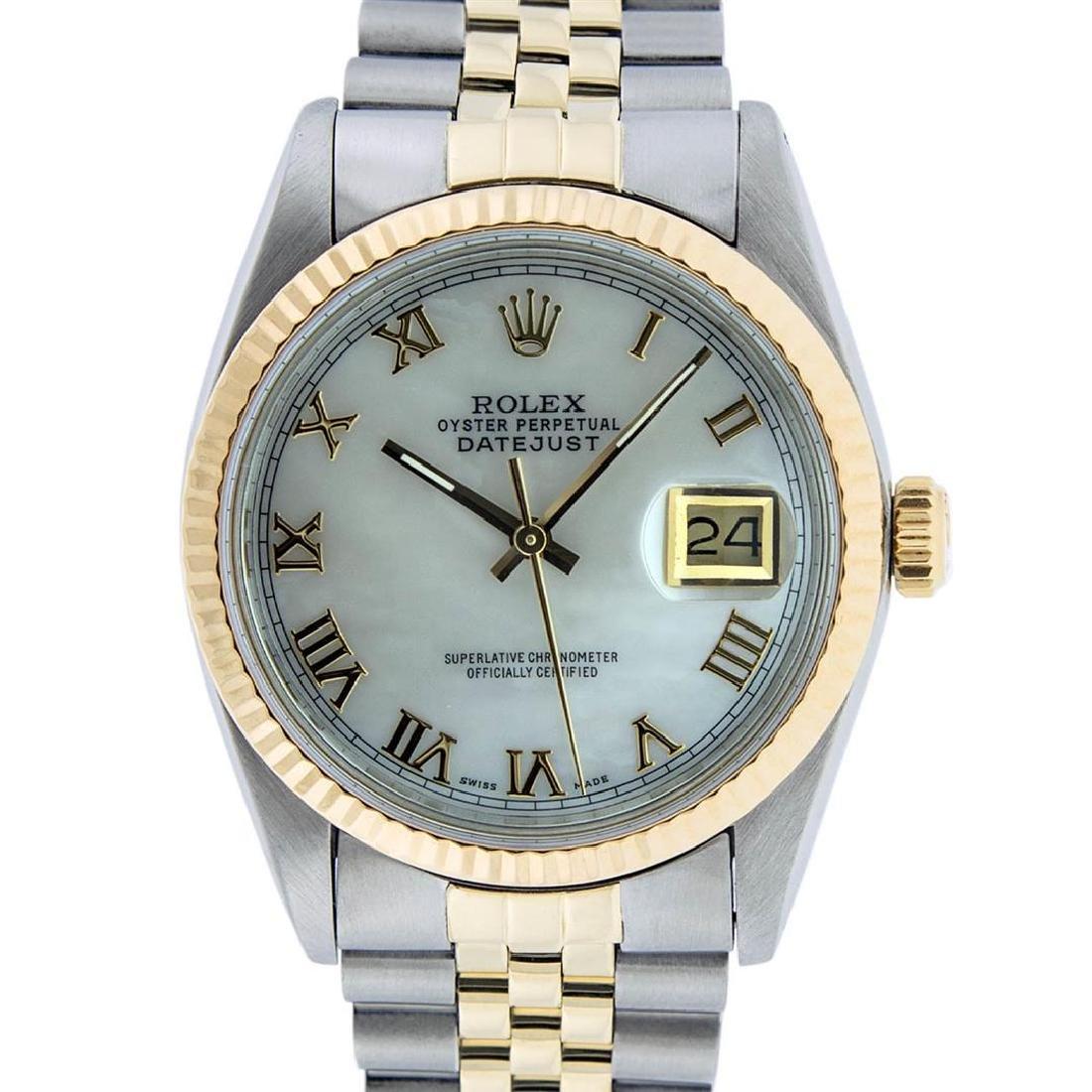 Rolex Mens 2 Tone 14K Mother Of Pearl Roman Datejust