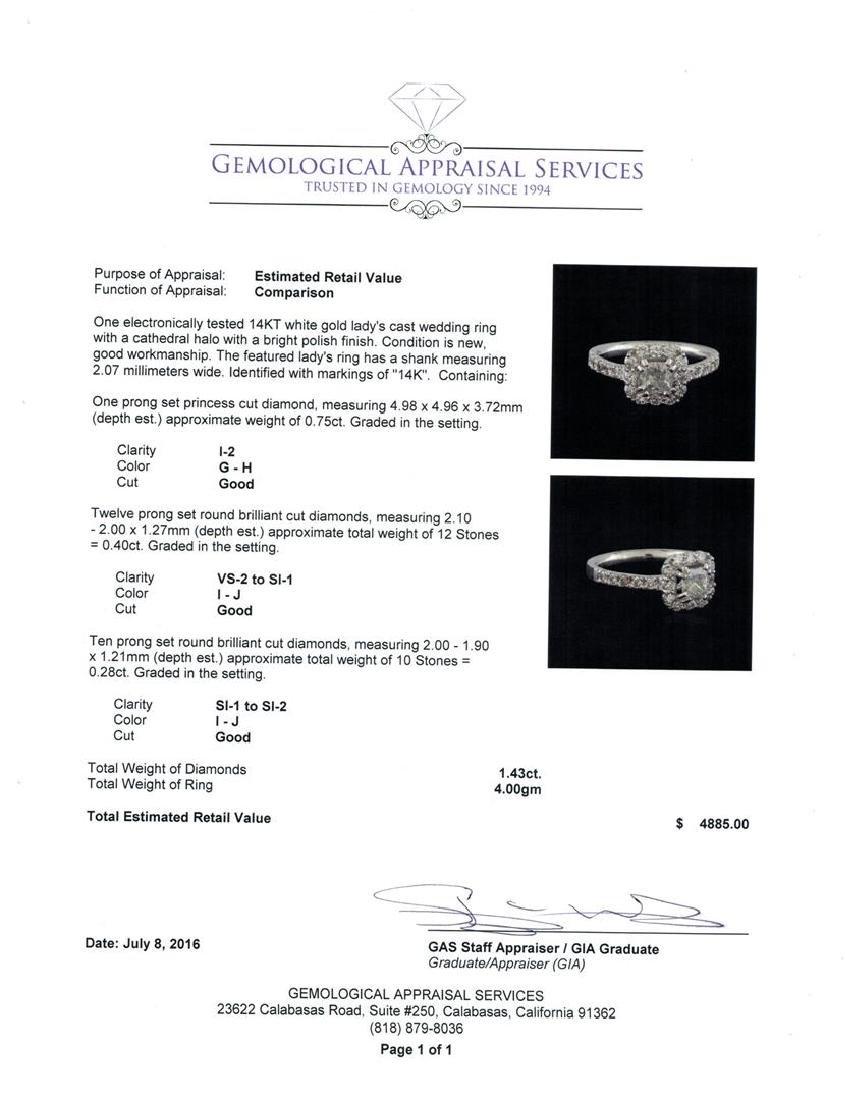 1.43 ctw Diamond Ring - 14KT White Gold - 5