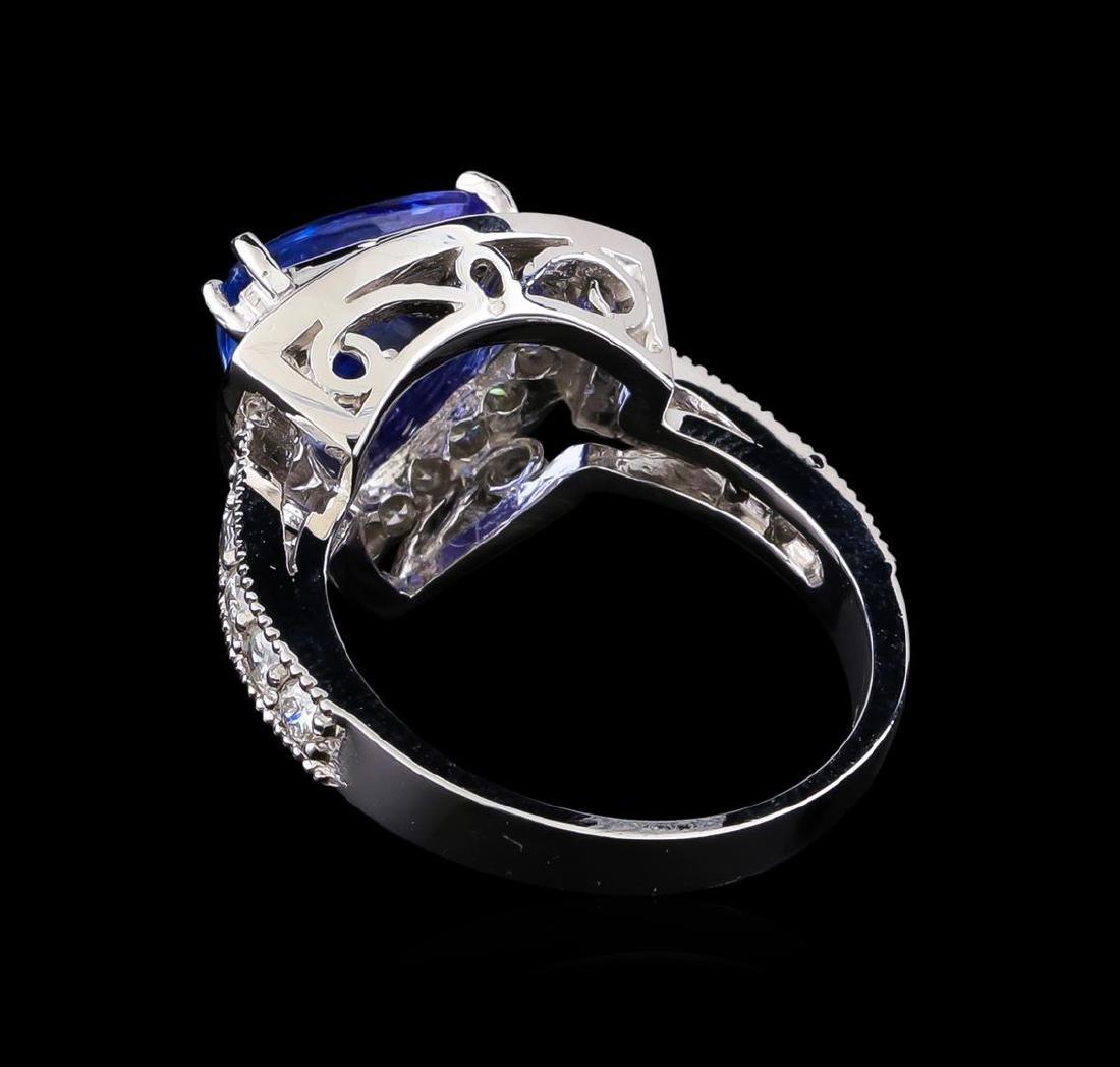3.26 ctw Tanzanite and Diamond Ring - 14KT White Gold - 3
