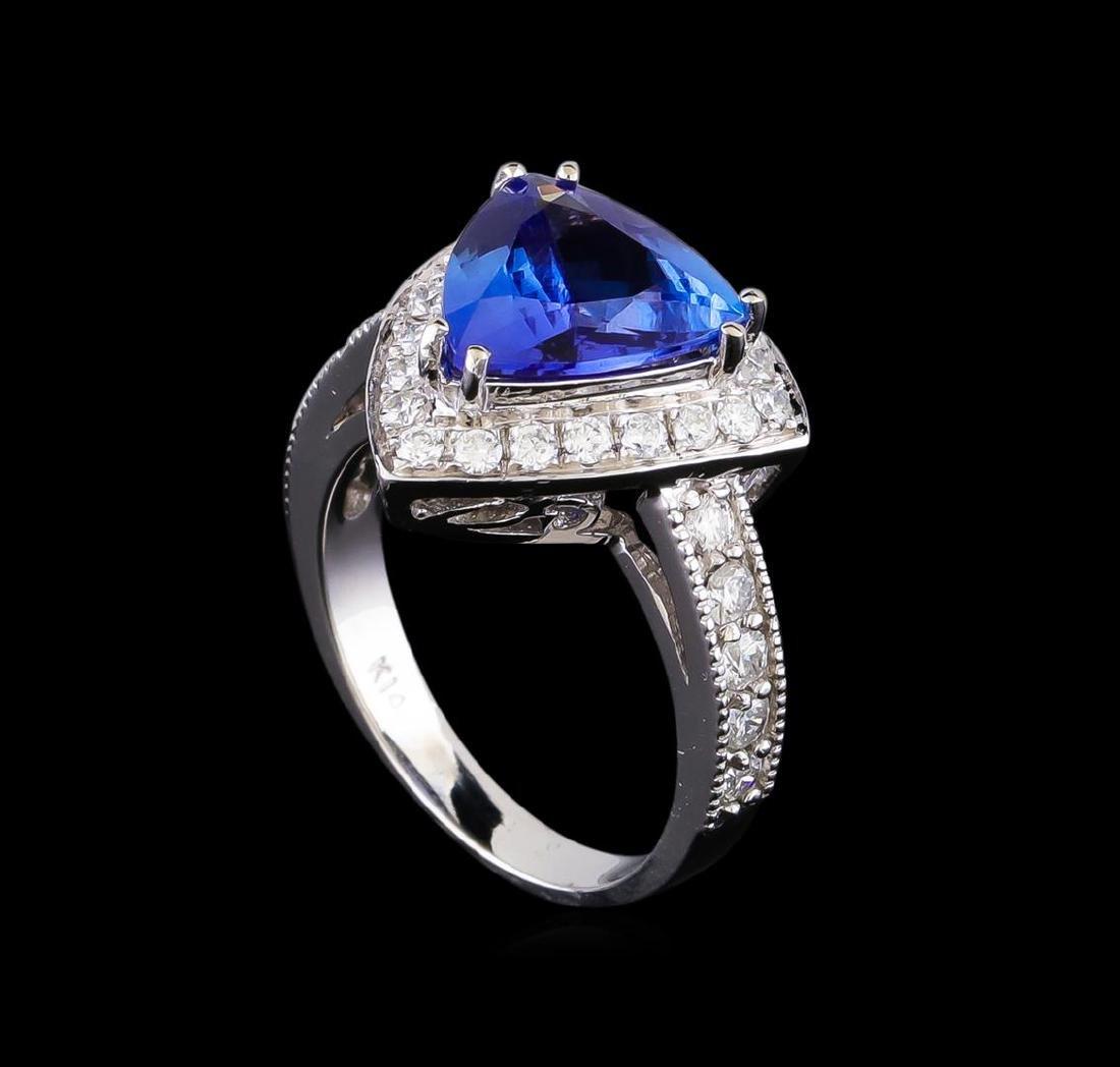 3.26 ctw Tanzanite and Diamond Ring - 14KT White Gold - 4