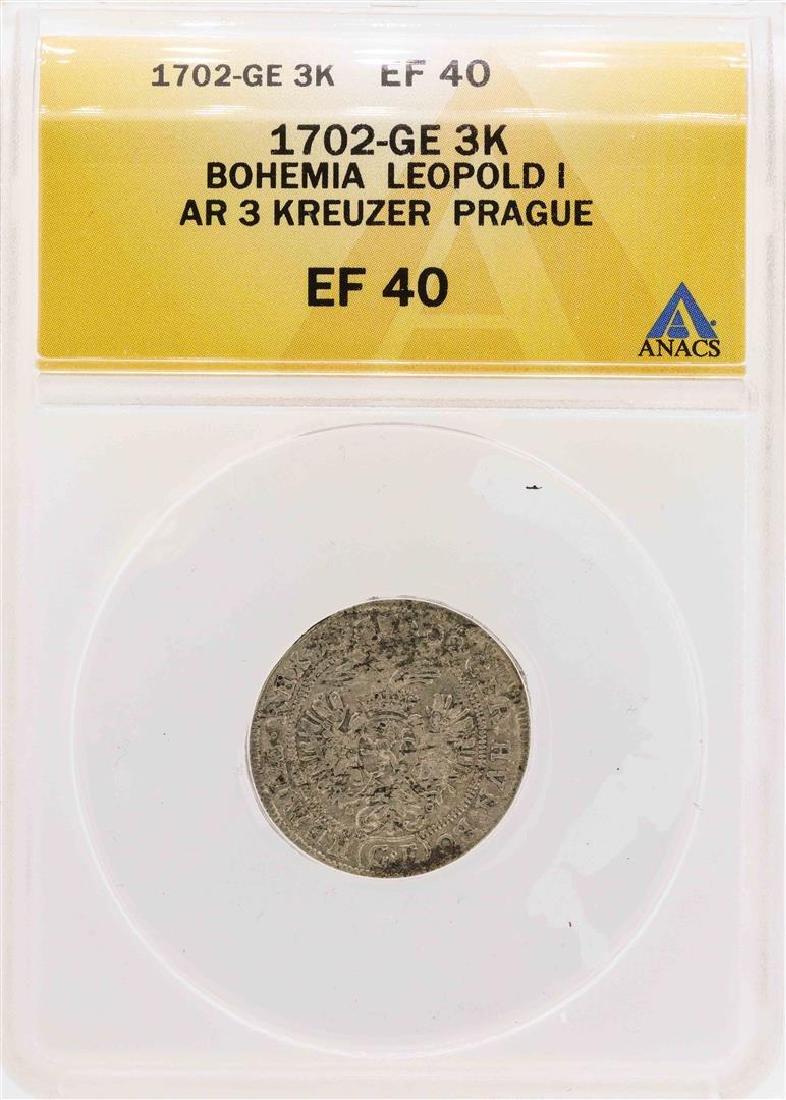 1702-GE Bohemia Leopold I AR 3 Kreuzer Prague Coin