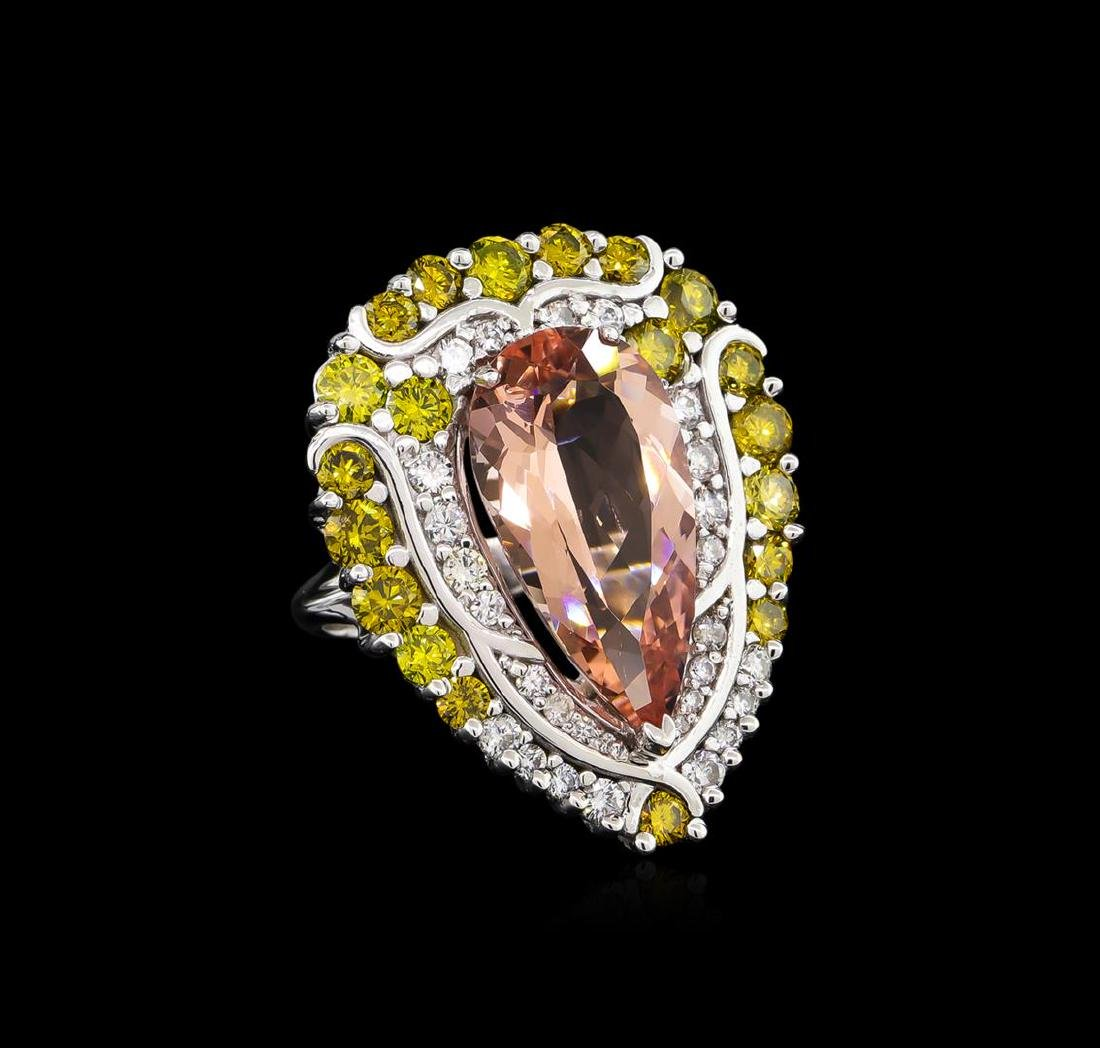 9.04 ctw Morganite and Diamond Ring - 18KT White Gold