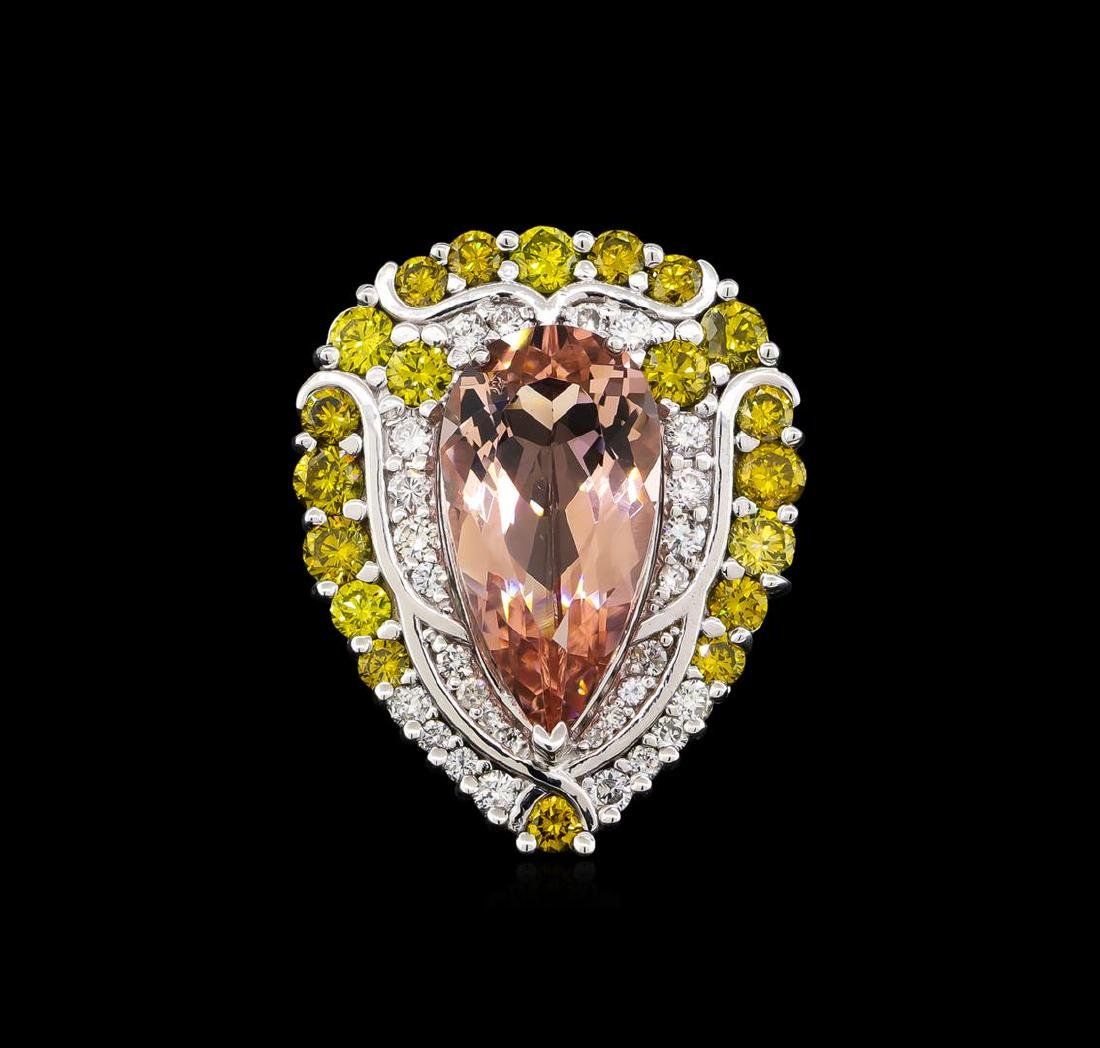 9.04 ctw Morganite and Diamond Ring - 18KT White Gold - 2