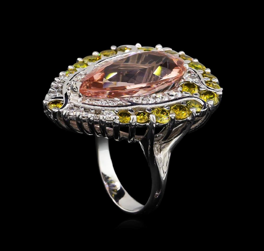 9.04 ctw Morganite and Diamond Ring - 18KT White Gold - 4