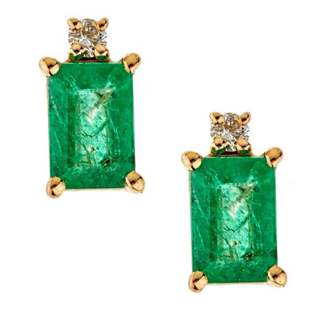 1.13 ctw Emerald and Diamond Earrings - 14KT Yellow