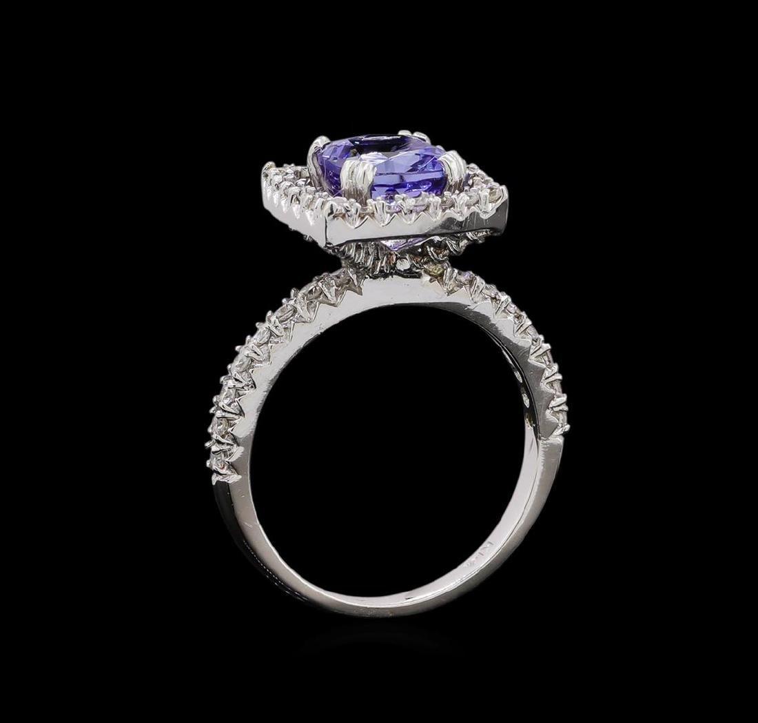 14KT White Gold 2.43 ctw Tanzanite and Diamond Ring - 4