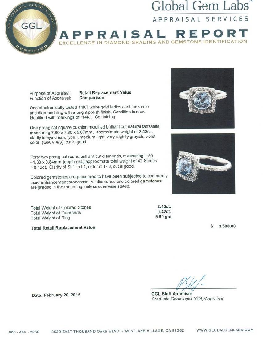 14KT White Gold 2.43 ctw Tanzanite and Diamond Ring - 5