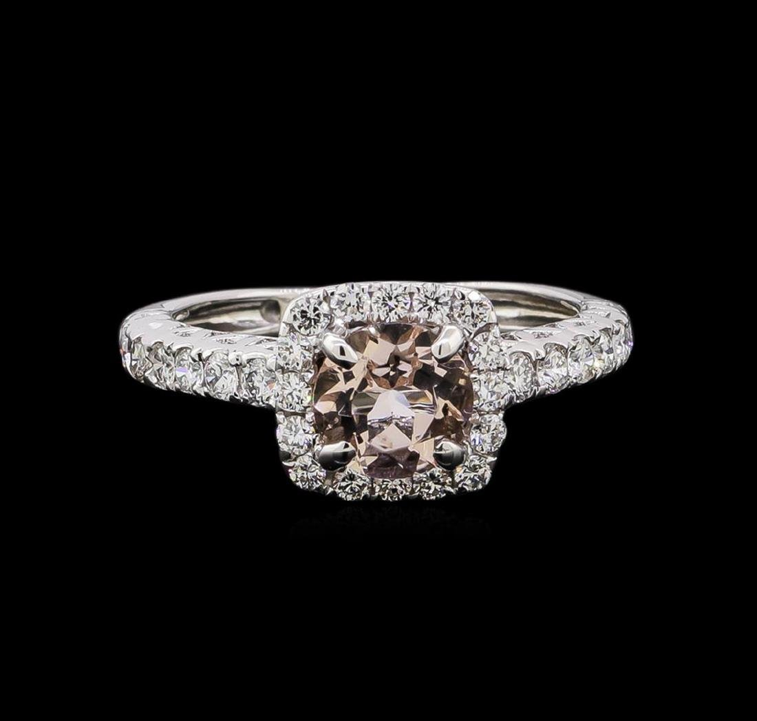 0.77 ctw Morganite and Diamond Ring - 14KT White Gold - 2