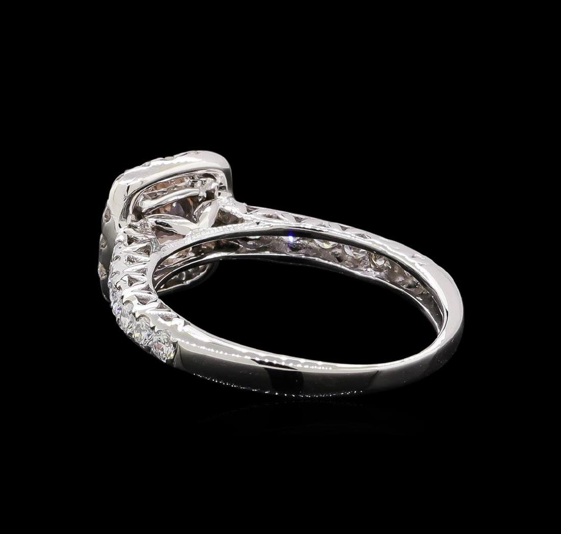 0.77 ctw Morganite and Diamond Ring - 14KT White Gold - 3
