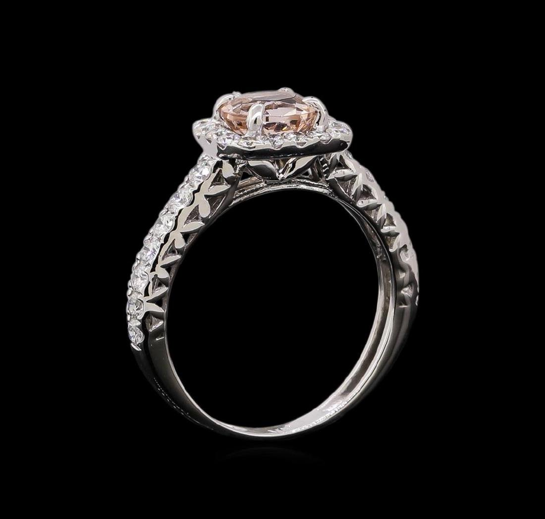0.77 ctw Morganite and Diamond Ring - 14KT White Gold - 4