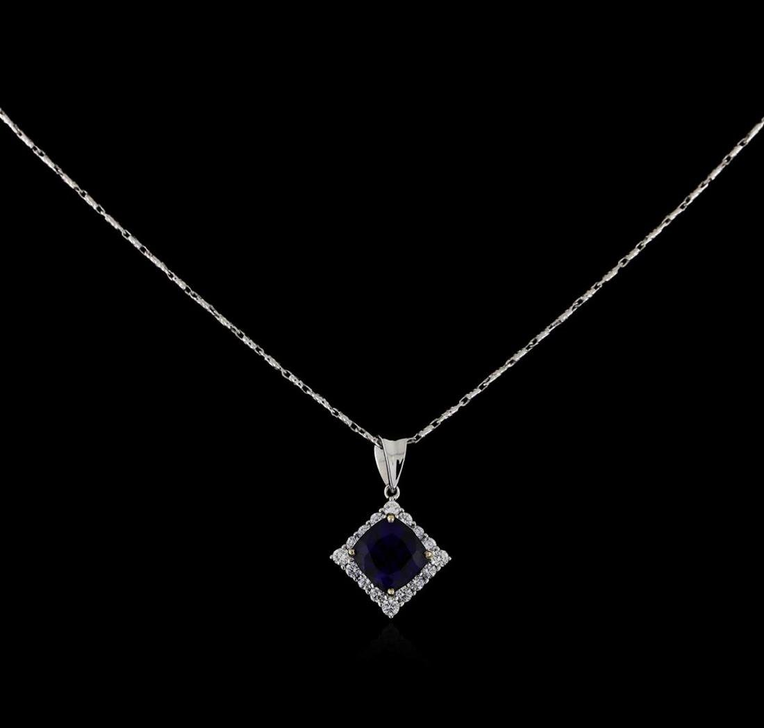 18KT White Gold 3.18 ctw Sapphire and Diamond Pendant