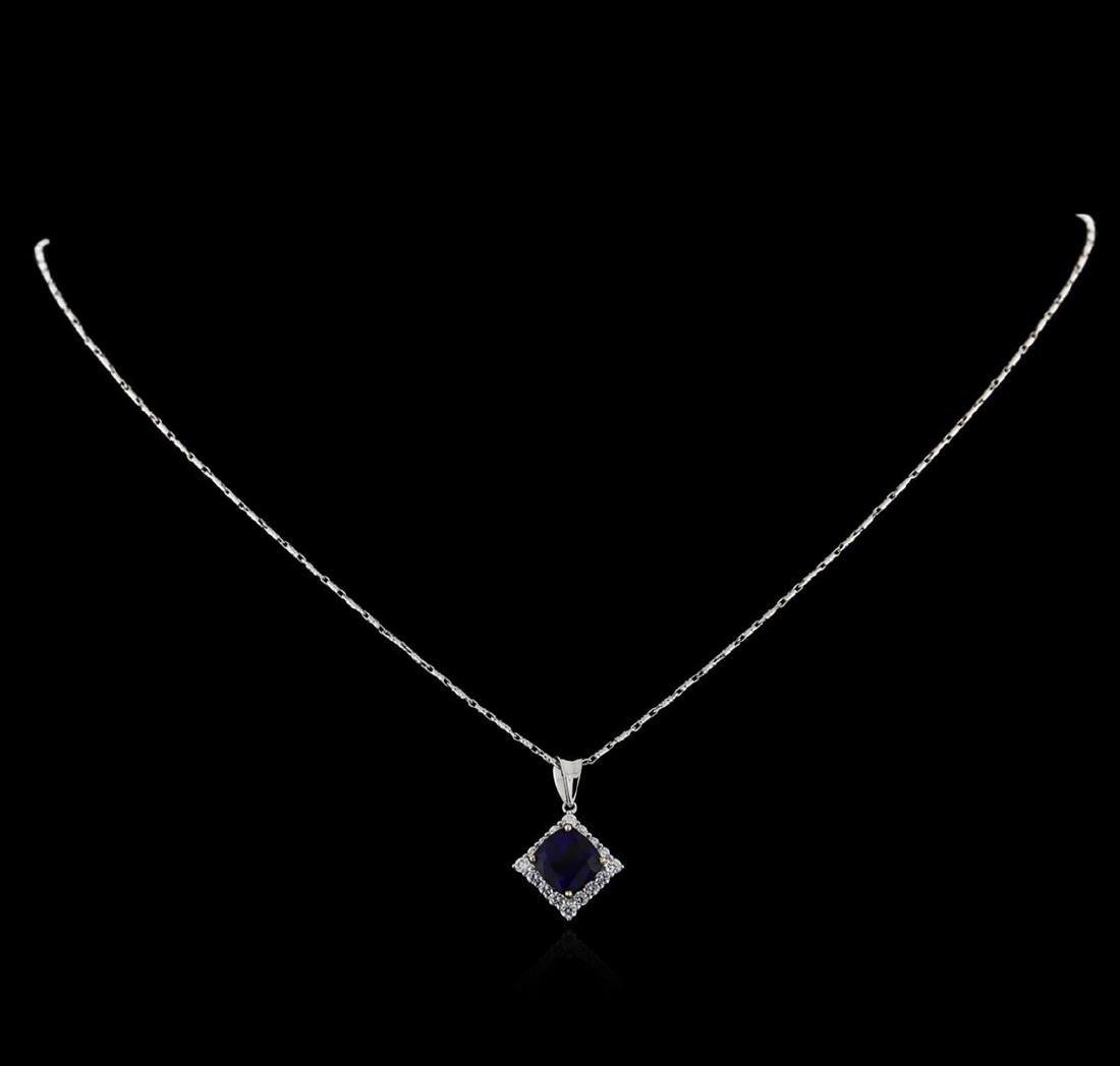 18KT White Gold 3.18 ctw Sapphire and Diamond Pendant - 2