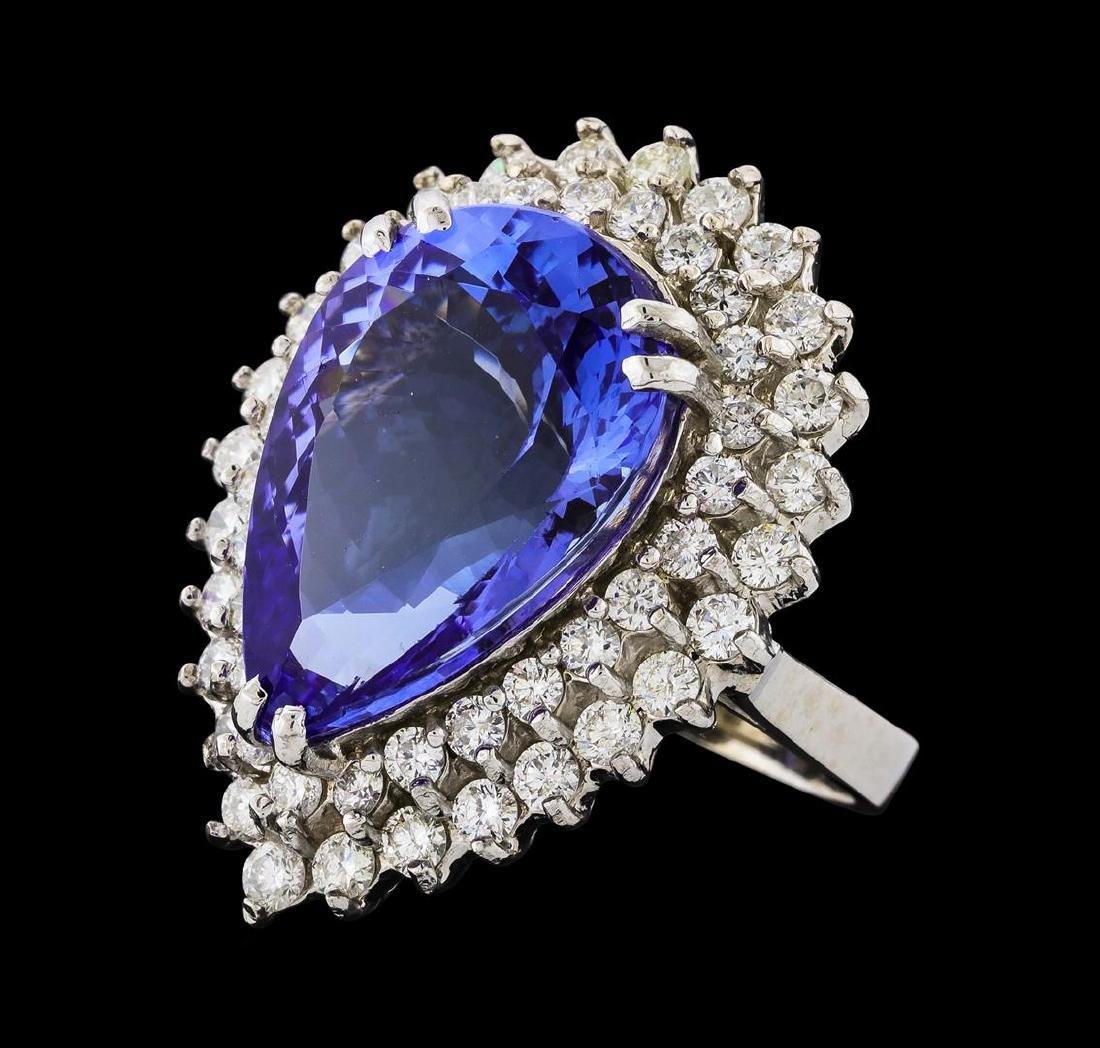 GIA Cert 15.49 ctw Tanzanite and Diamond Ring - 14KT
