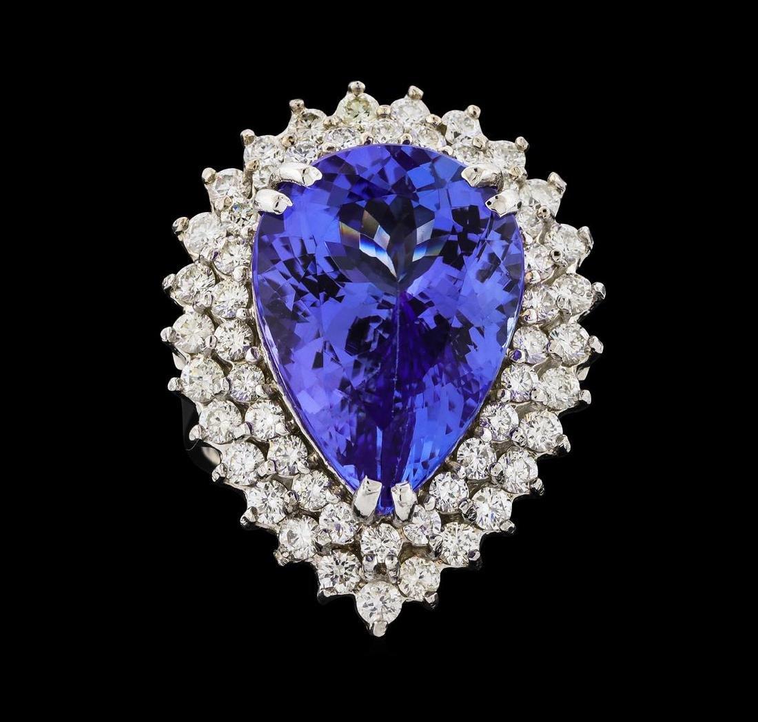 GIA Cert 15.49 ctw Tanzanite and Diamond Ring - 14KT - 2