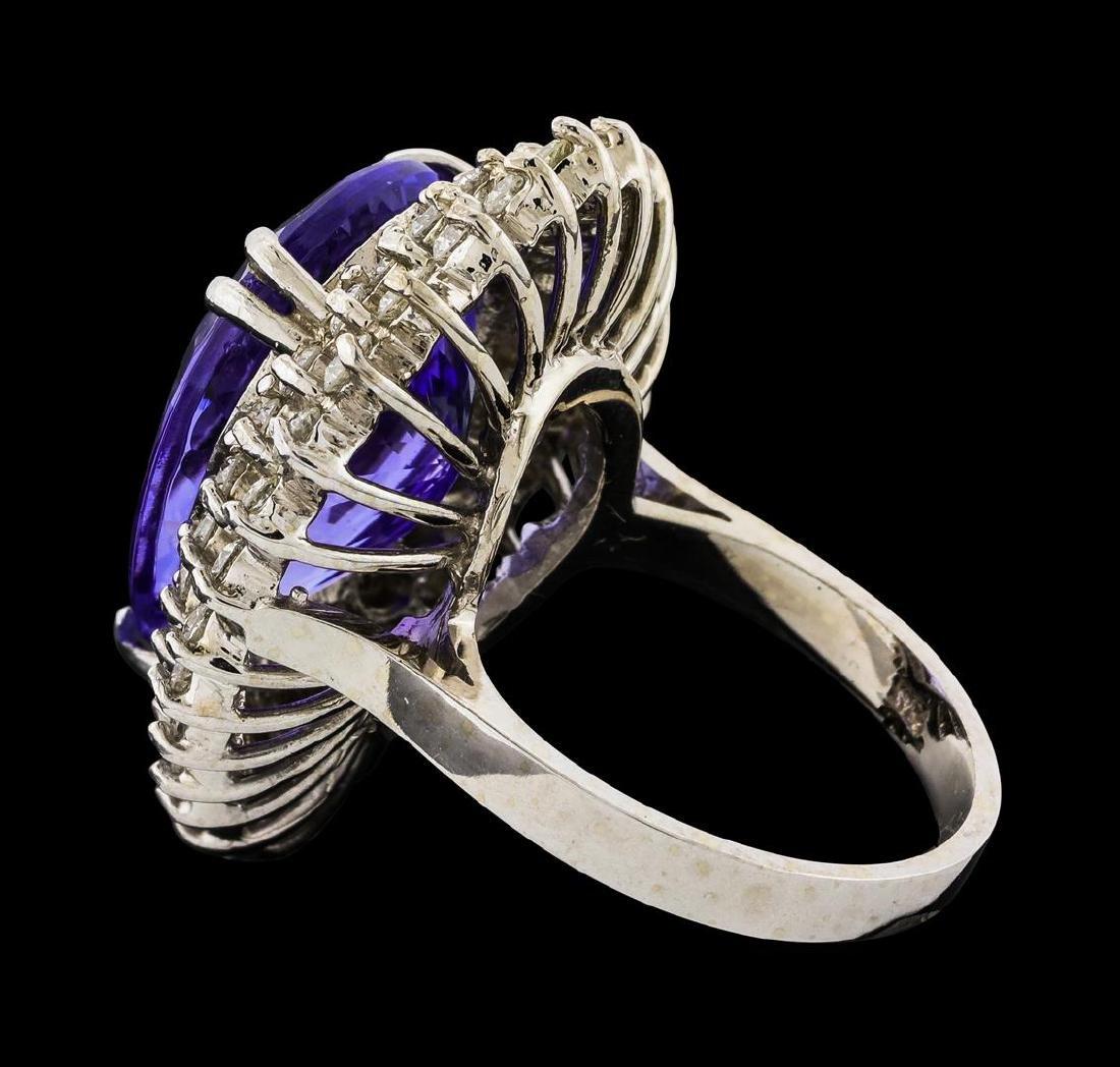GIA Cert 15.49 ctw Tanzanite and Diamond Ring - 14KT - 3