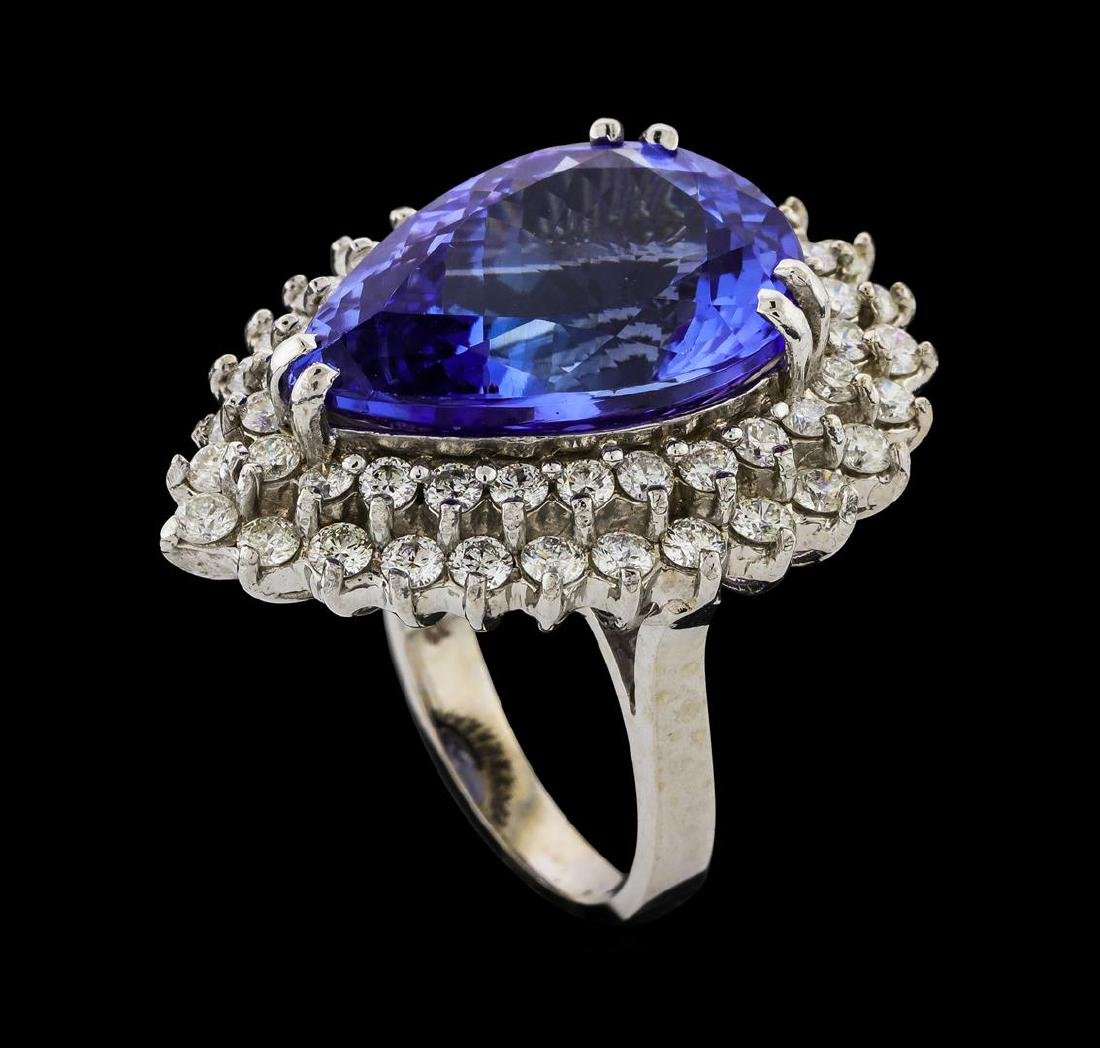 GIA Cert 15.49 ctw Tanzanite and Diamond Ring - 14KT - 4
