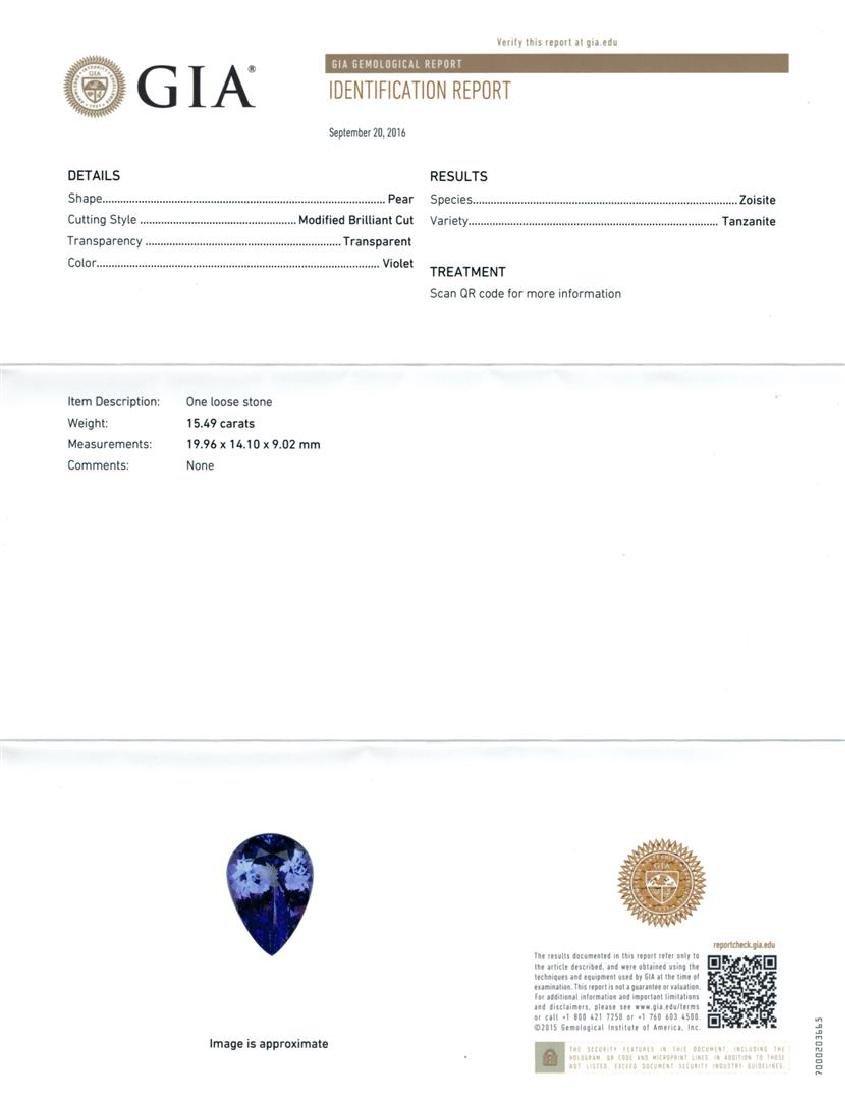 GIA Cert 15.49 ctw Tanzanite and Diamond Ring - 14KT - 6