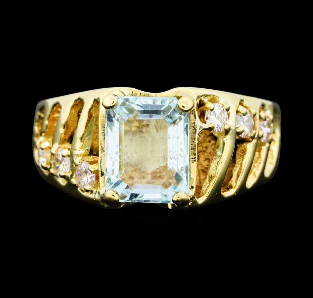 3.00 ctw Aquamarine and Diamond Ring - 14KT Yellow Gold - 2