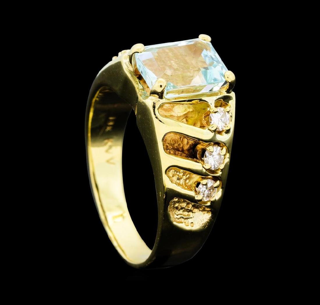 3.00 ctw Aquamarine and Diamond Ring - 14KT Yellow Gold - 4