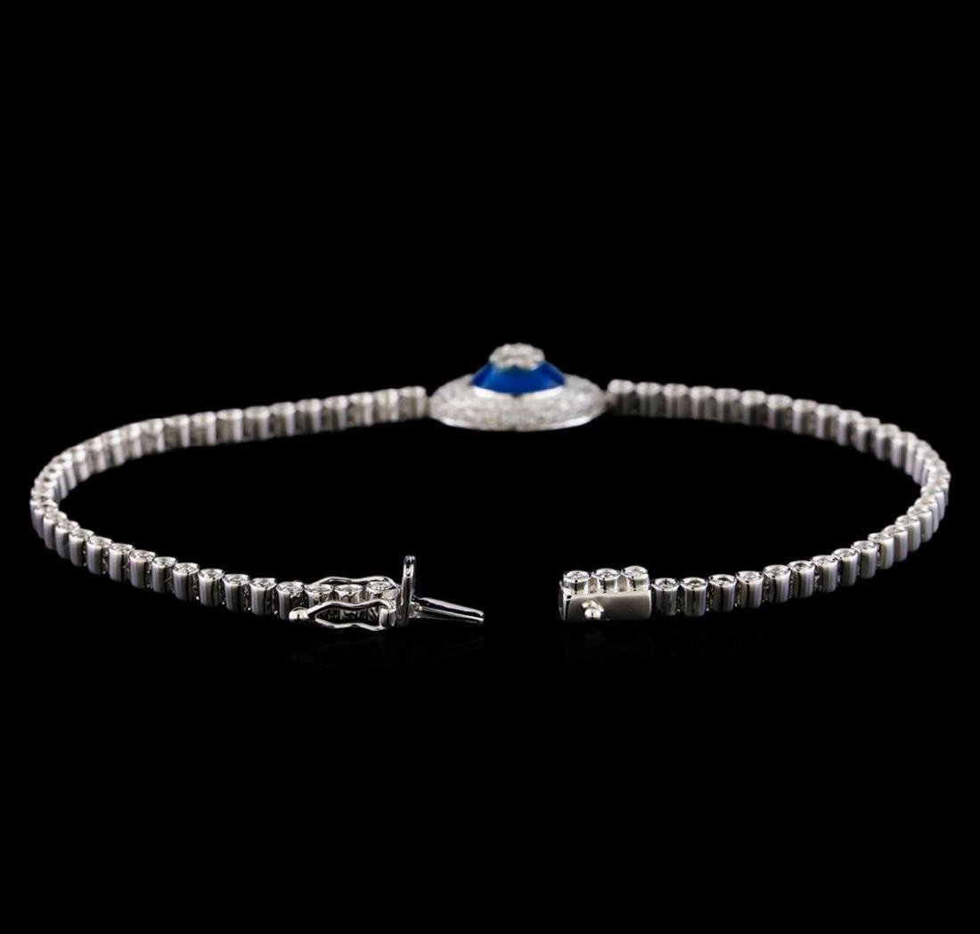 1.46 ctw Diamond Evil Eye Bracelet - 14KT White Gold - 3