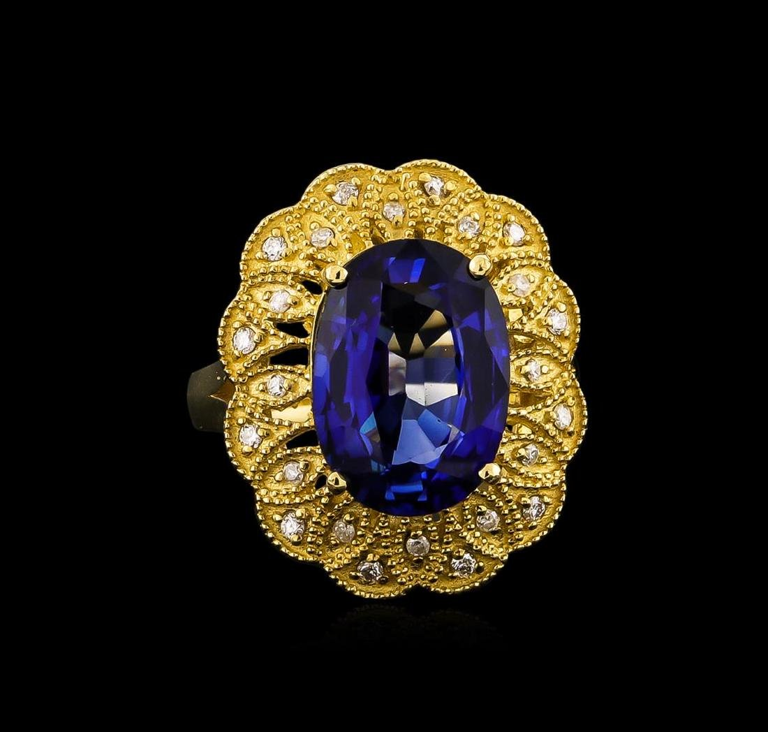 14KT Yellow Gold 7.38 ctw Tanzanite and Diamond Ring - 2