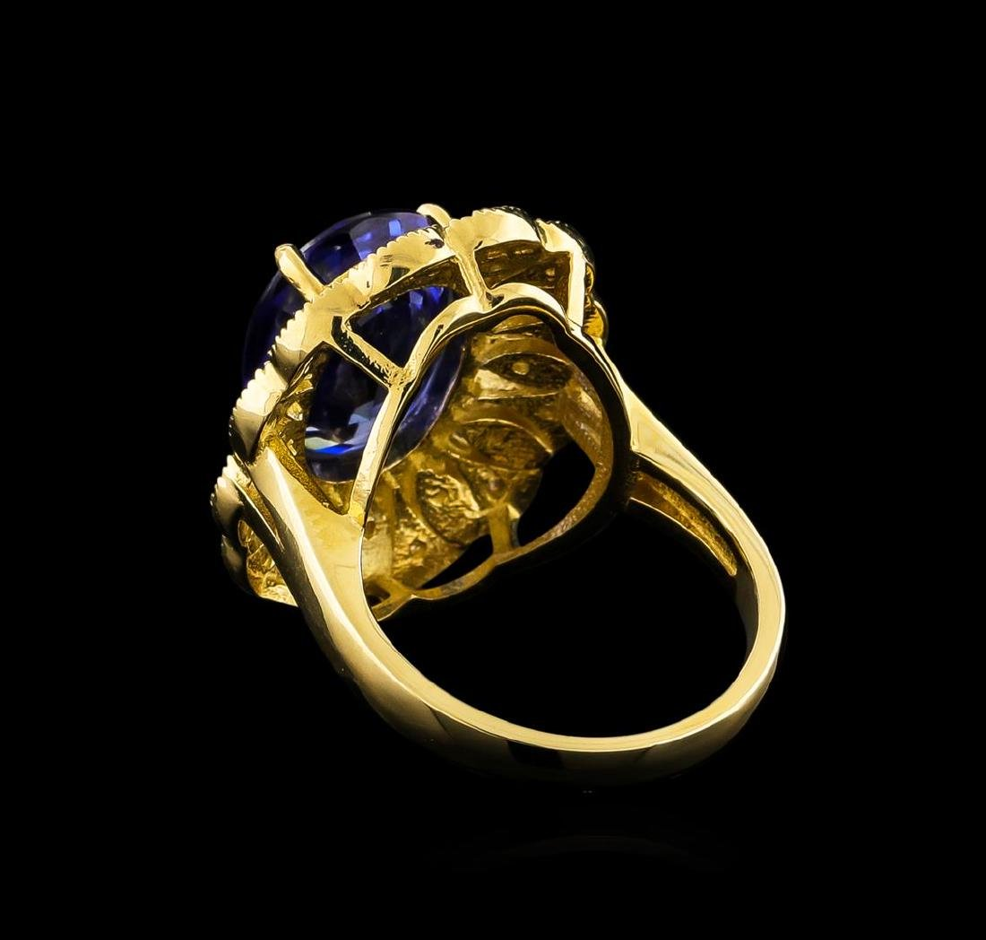14KT Yellow Gold 7.38 ctw Tanzanite and Diamond Ring - 3