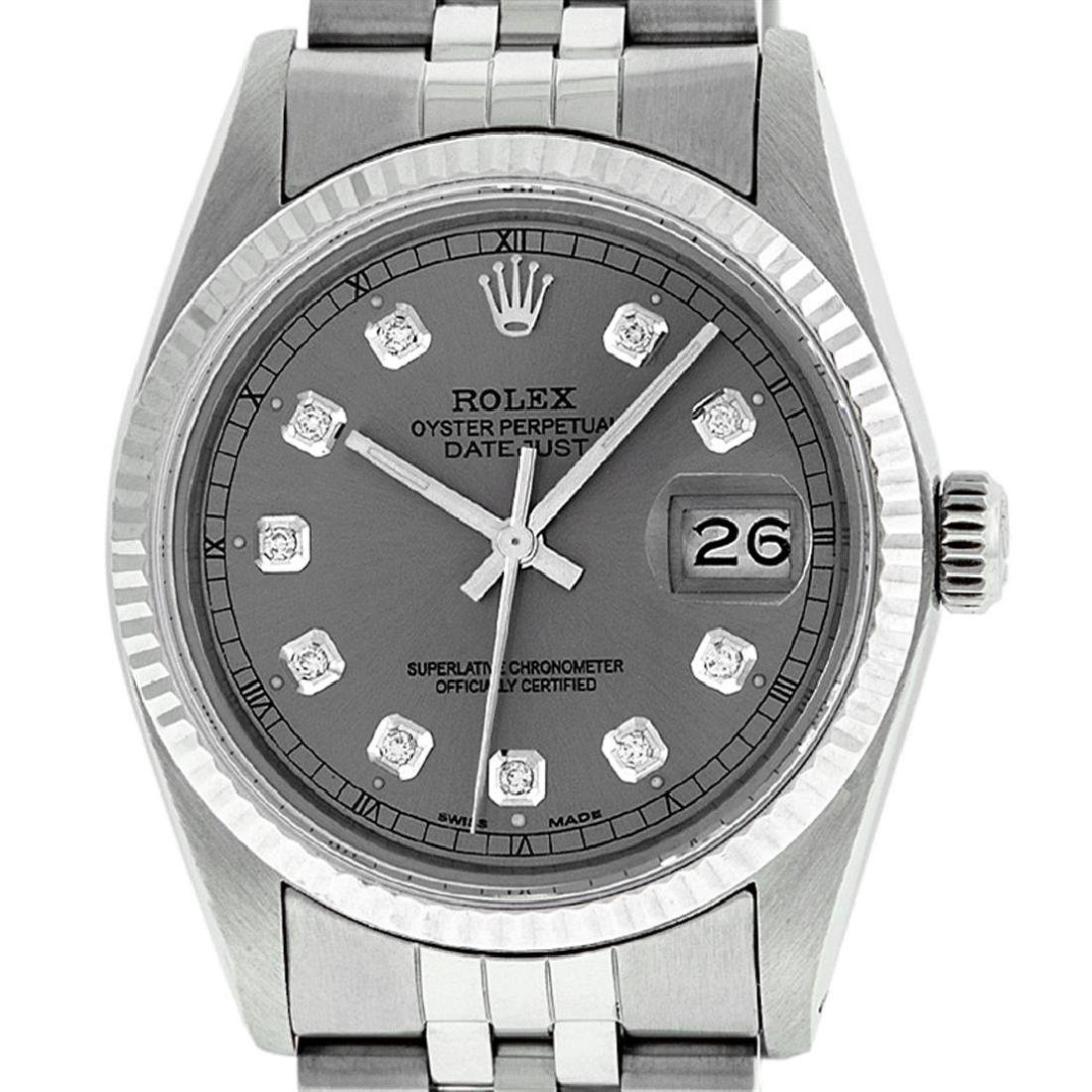 Rolex Mens Stainless Slate Grey Diamond 36MM Datejust