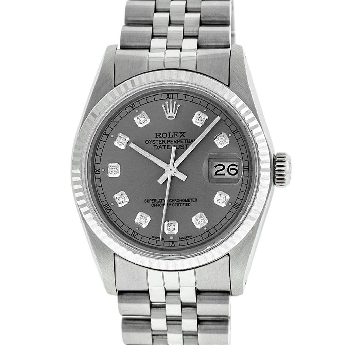 Rolex Mens Stainless Slate Grey Diamond 36MM Datejust - 2