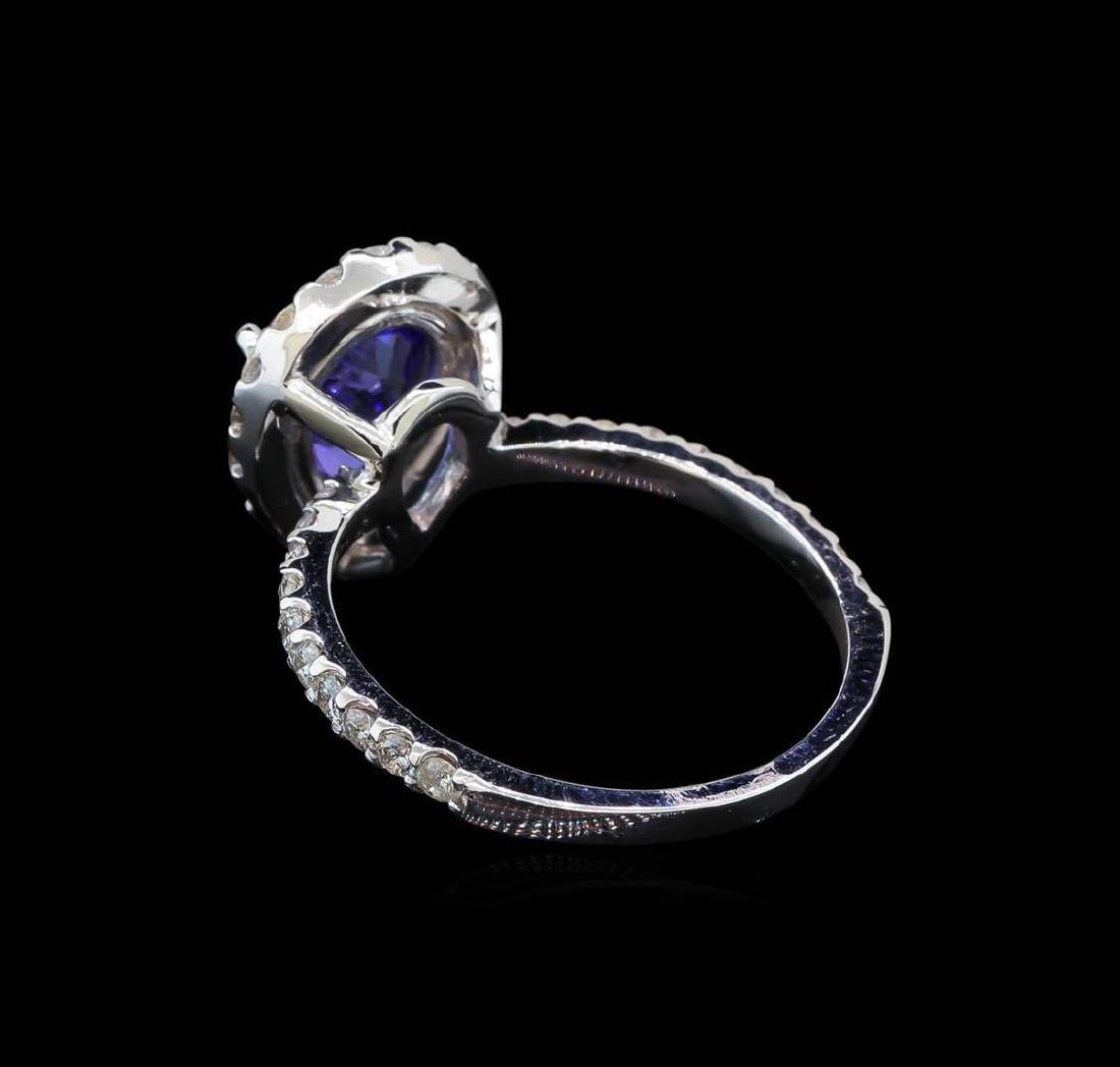2.20 ctw Tanzanite and Diamond Ring - 14KT White Gold - 3