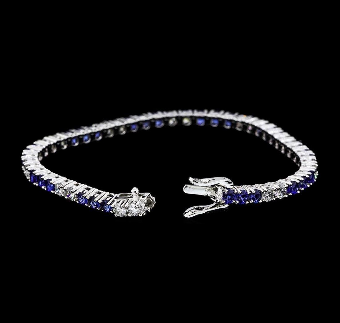 5.50 ctw Blue Sapphire And Diamond Bracelet - 14KT - 4