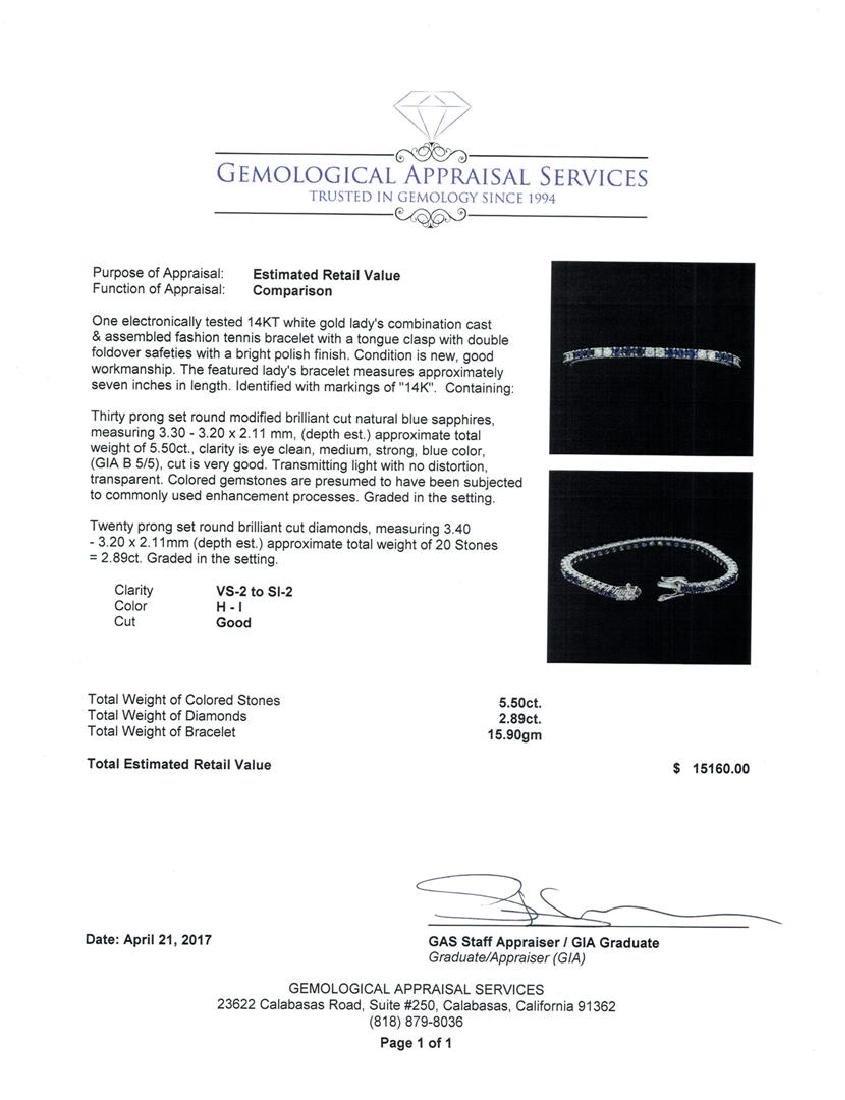 5.50 ctw Blue Sapphire And Diamond Bracelet - 14KT - 5