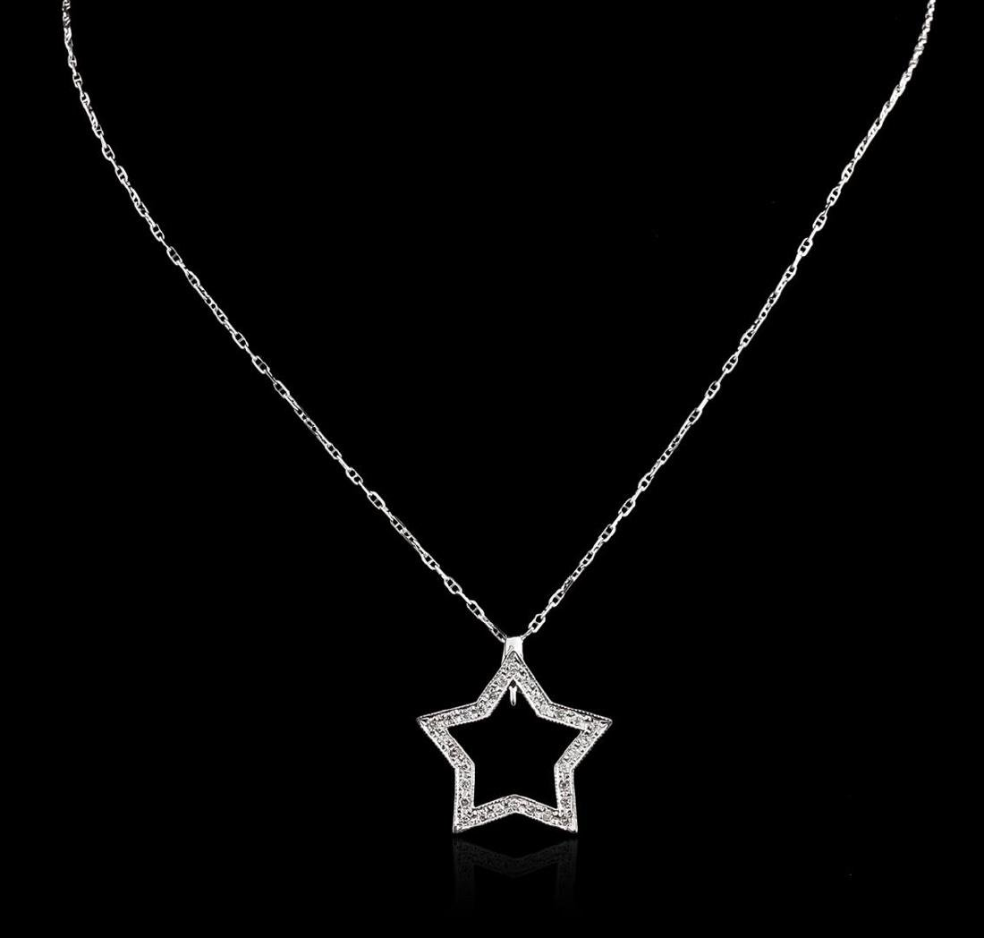 14KT White Gold 0.35 ctw Star Pendant With Chain - 2