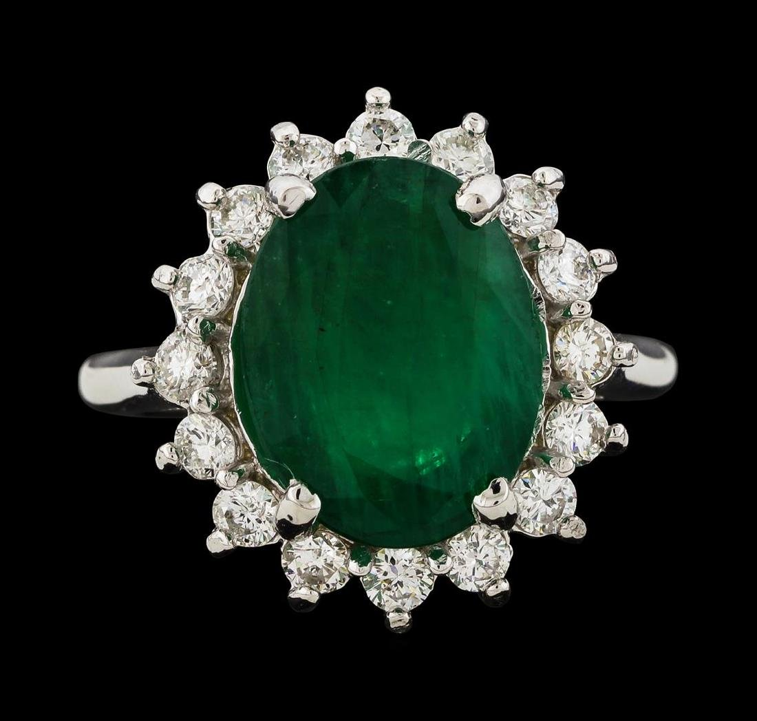 4.77 ctw Emerald and Diamond Ring - 14KT White Gold - 2