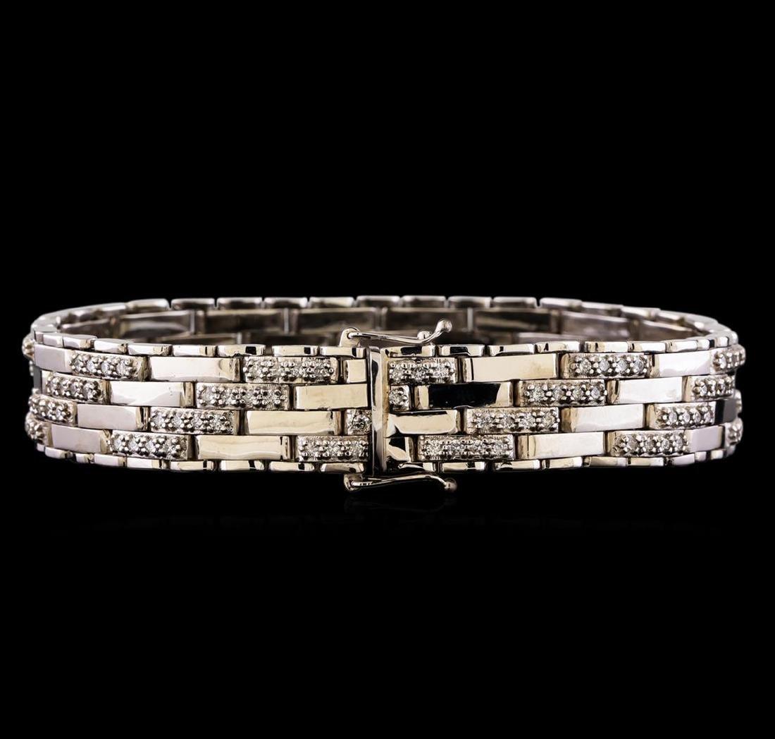 3.52 ctw Diamond Bracelet - 14KT White Gold - 2