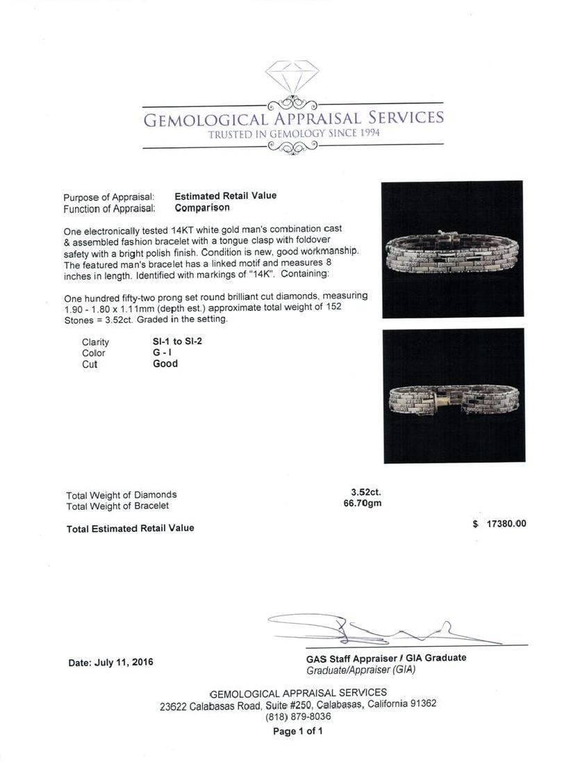 3.52 ctw Diamond Bracelet - 14KT White Gold - 4