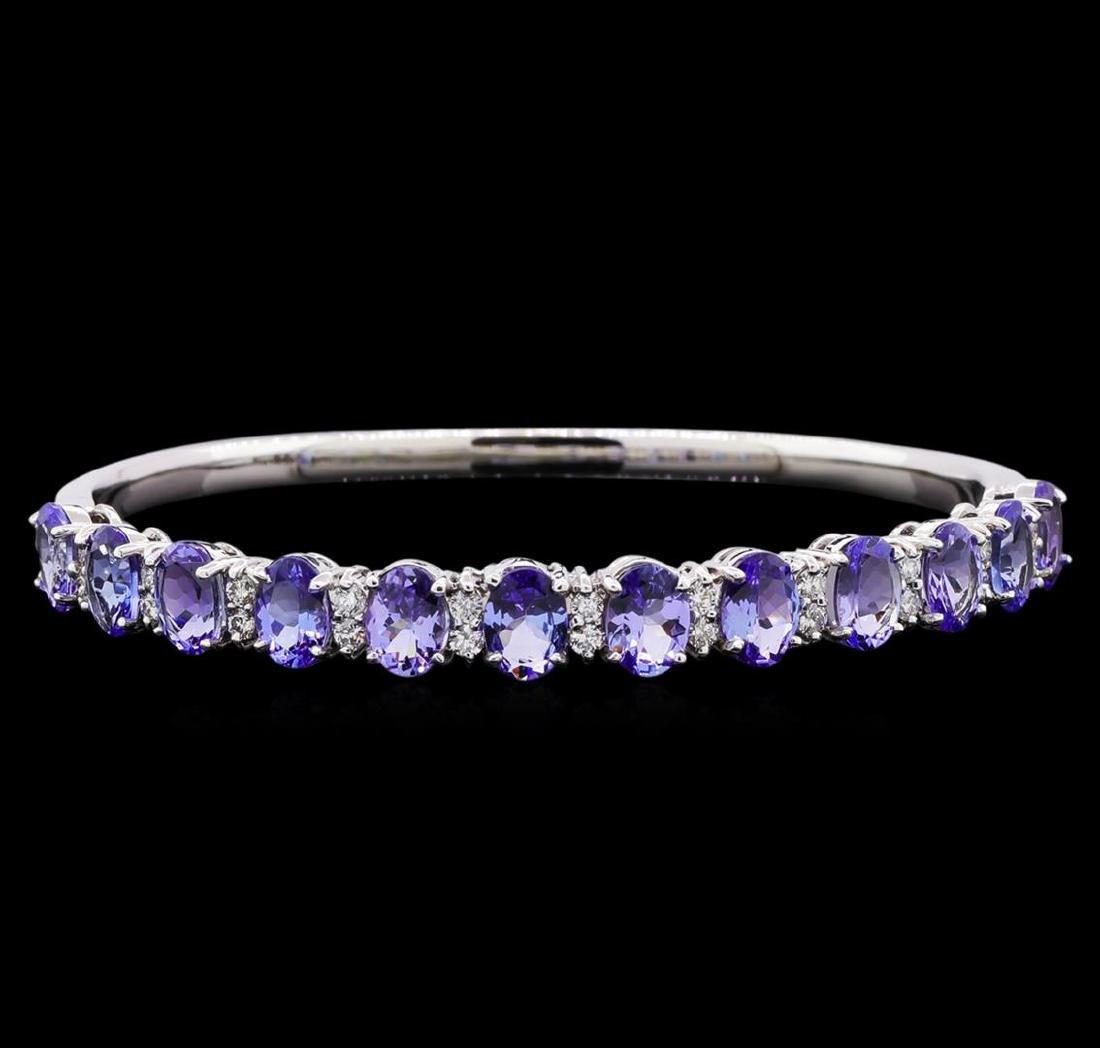 9.58 ctw Tanzanite and Diamond Bracelet - 14KT White