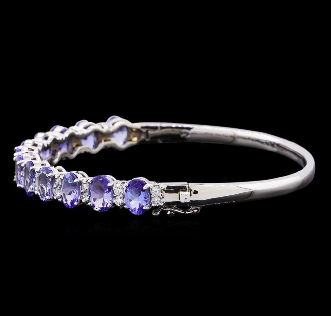 9.58 ctw Tanzanite and Diamond Bracelet - 14KT White - 2