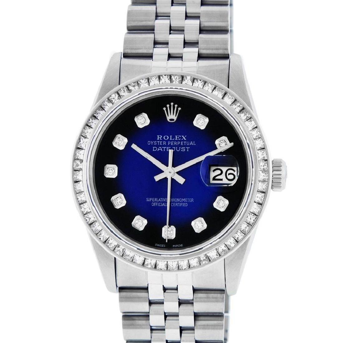 Rolex Mens Stainless Steel Blue Vignette Princess Cut - 2