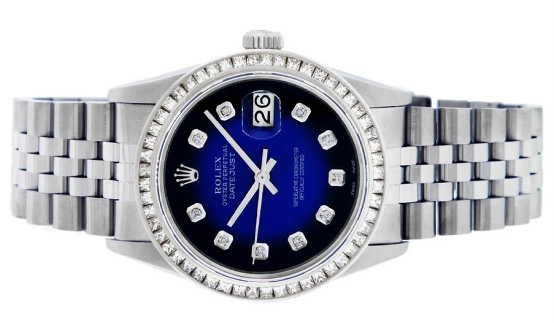 Rolex Mens Stainless Steel Blue Vignette Princess Cut - 3