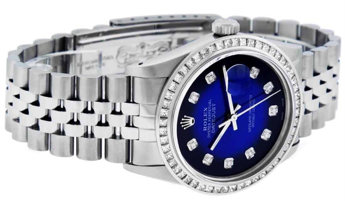 Rolex Mens Stainless Steel Blue Vignette Princess Cut - 4