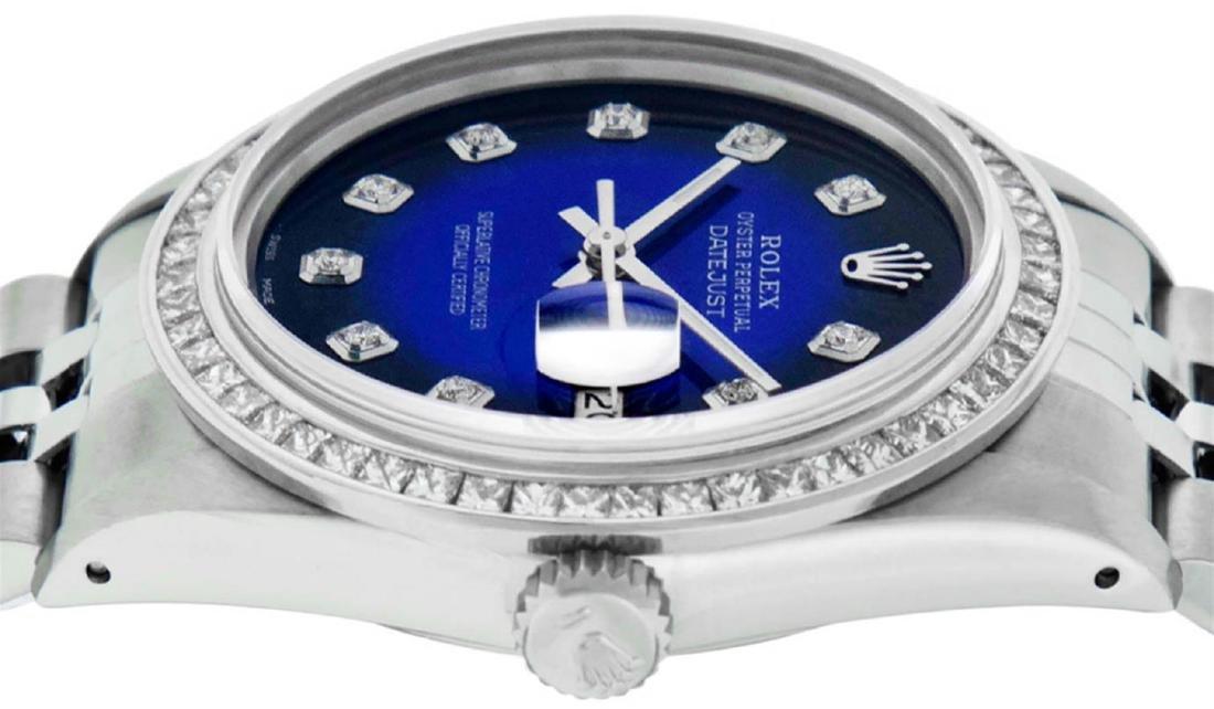 Rolex Mens Stainless Steel Blue Vignette Princess Cut - 5
