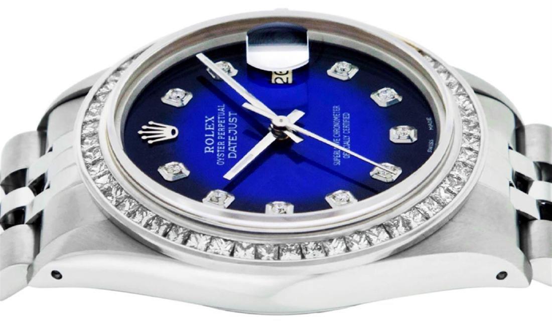 Rolex Mens Stainless Steel Blue Vignette Princess Cut - 6