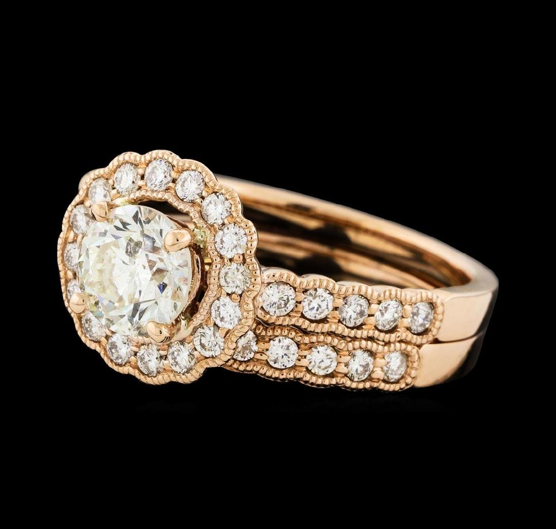 1.56 ctw Diamond Ring and Wedding Band - 14KT Rose Gold