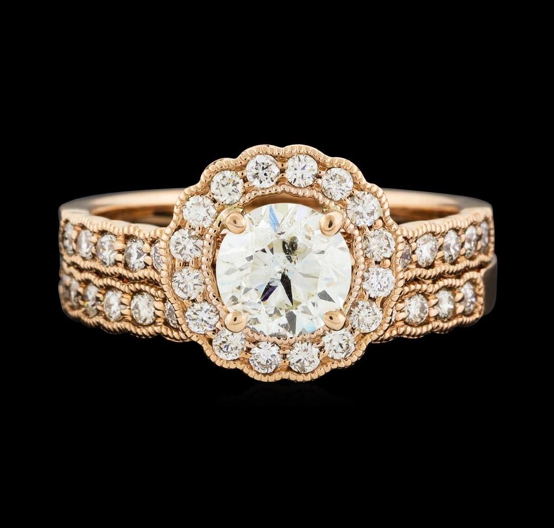 1.56 ctw Diamond Ring and Wedding Band - 14KT Rose Gold - 2