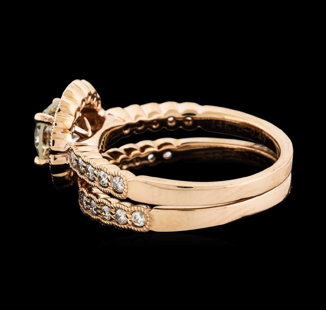 1.56 ctw Diamond Ring and Wedding Band - 14KT Rose Gold - 3